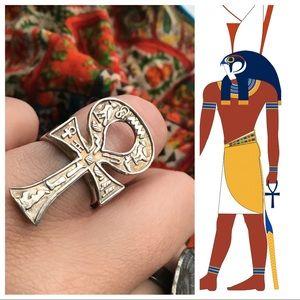 Vintage Silver Hieroglyph Egyptian Ankh Cross Ring